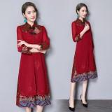 Noble Linen Maroon Midi Cheongsam Dress 3027-29