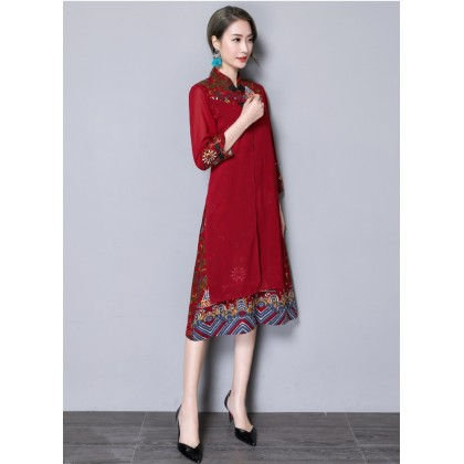 Noble Linen Maroon Midi Cheongsam Dress 3027-29