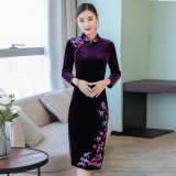 Vintage Embroidery Purple Red Velvet Midi Cheongsam 1312-85