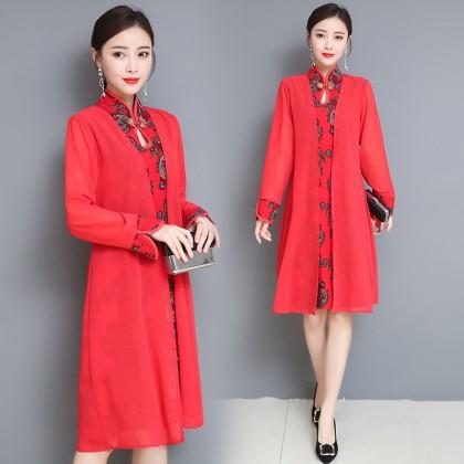Long-sleeved Graceful Red Midi Linen Cheongsam Dress 3029-28