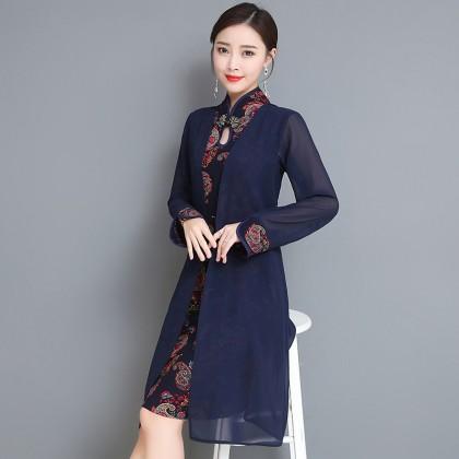 Long-sleeved Graceful Navy Midi Linen Cheongsam Dress 3029-76