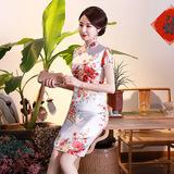 Graceful White Satin Short Qipao 2403-01 雅致白色绸缎旗袍