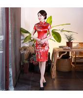 Graceful Red Satin Short Qipao 2403-28 雅致紅色绸缎旗袍