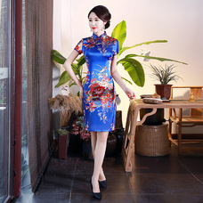 Graceful Blue Satin Short Qipao 2403-70 雅致藍色绸缎旗袍