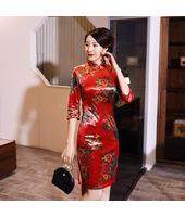 Prosperous Tree Elegant Red Velvet Qipao 2304-28 富貴樹優雅紅色絲絨旗袍