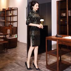 Golden Wheat Elegant Black Velvet Qipao 2305-99 小麥金優雅黑色絲絨旗袍