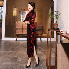 Prosperous Red Velvet Maxi Cheongsam 1313-28 金絲絨富貴紅長款旗袍