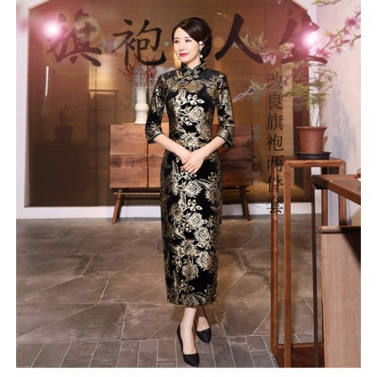 Prosperous Black Velvet Maxi Cheongsam 1313-99 金絲絨富貴金長款旗袍
