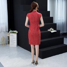 Vintage Red Plaid Short Qipao 2404-28 (Size S, XXL) 文藝格子紅色旗袍