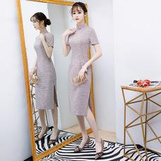 Midi Elegant Red Plaid Qipao 1022-28 清新小紅格棉中長旗袍