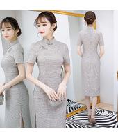 Midi Elegant Beige Plaid Qipao 1022-03 清新小米格棉中長旗袍
