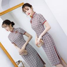 Midi Red/Blue Plaid Qipao 1023-28 素雅紅藍格子棉中長旗袍