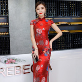 Vintage Shanghai Faux Silk Maxi Cheongsam 1024-28 吉祥如意絲綢長旗袍
