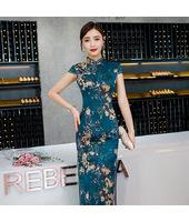 Bamboo Leaf Blue Faux Silk Yarn Maxi Cheongsam 1025-76 竹葉小花藏青仿香雲紗長旗袍