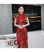 Green leaf Red Faux Silk Yarn Maxi Cheongsam 1025-28 綠葉小紅花紅色仿香雲紗長旗袍