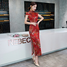 Green leaf Red Faux Silk Yarn Maxi Cheongsam 1025-28 綠葉小紅花紅色仿香雲紗長旗袍