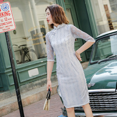 Midi Grey Silver Lace Qipao 1201-97 灰銀蕾絲中長旗袍 灰銀蕾絲中長旗袍