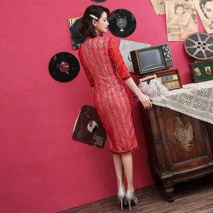 Midi Red On White Lace Qipao 1201-28 白底紅蕾絲中長旗袍
