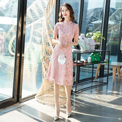 Ao Dai Style Pink Dot Lace Midi Cheongsam Dress 3030-20 蕾絲奧黛圓點粉中長旗袍裙