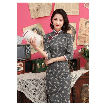 Mid-Sleeved Cotton Spandex Midi Cheongsam (Size M only)