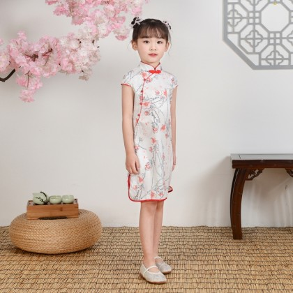 Hangzhou Children White Faux Silk Qipao 15002-01