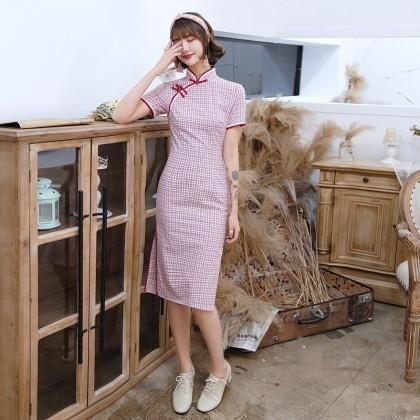 Elegant Red Plaid Cotton Midi Cheongsam 1031-28