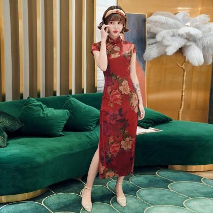 Suzhou Faux Tea Silk Maroon Maxi Cheongsam 1033-29