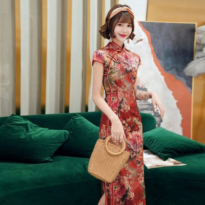 Suzhou Faux Tea Silk Flora Maxi Cheongsam 1033-28