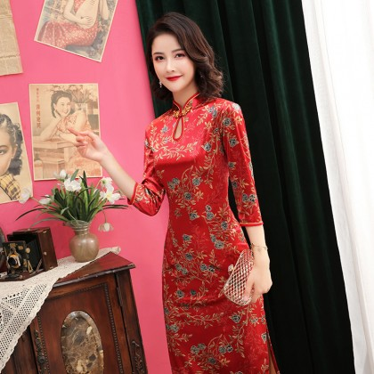 Plush Velvet Red Roses Midi Cheongsam 1314-28