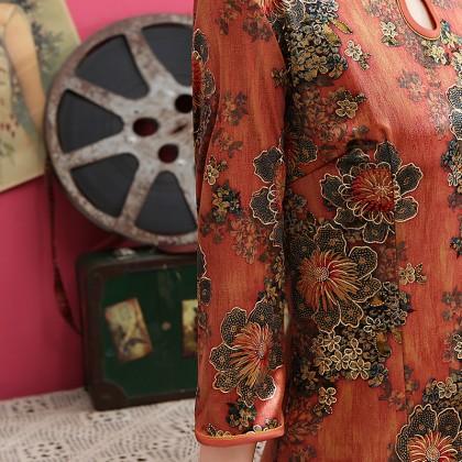 Plush Velvet Orange Floral Midi Cheongsam 1314-30