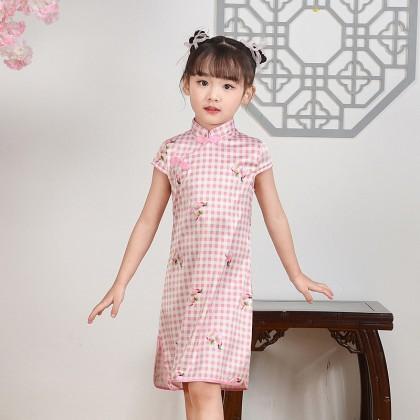 Hangzhou Children Pink Plaid Faux Silk Qipao 15001-20