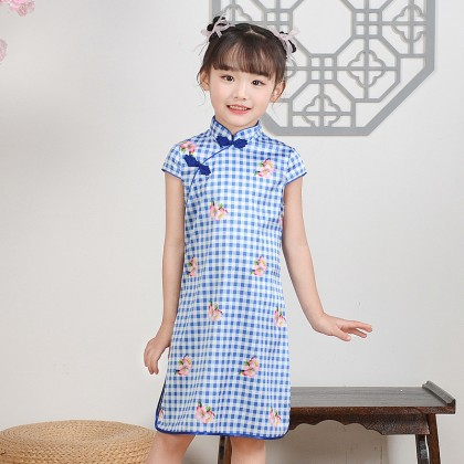 Hangzhou Children Blue Plaid Faux Silk Qipao 15001-70