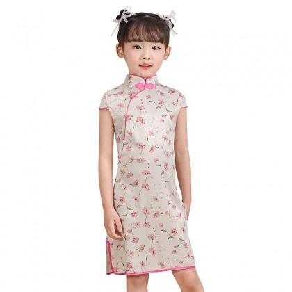 Hangzhou Children Beige Faux Silk Qipao 15002-10