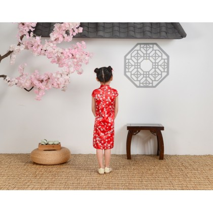Hangzhou Children Red Faux Silk Qipao 15002-28