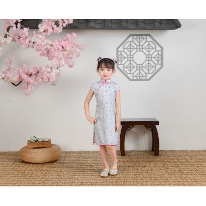 Hangzhou Children Light Blue Faux Silk Qipao 15002-72