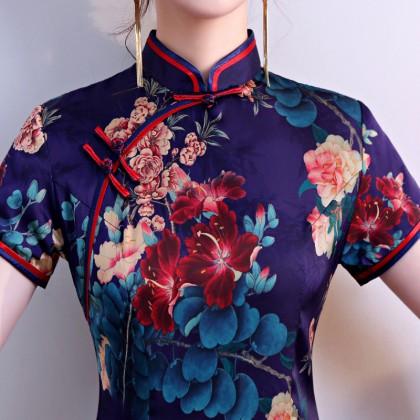 Hangzhou Floral Purple Silk Midi Cheongsam 1034-82