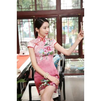Hangzhou Pink Peony Faux Silk Qipao 2406-20