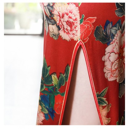 Suzhou Flora Peony Silk Satin Maxi Cheongsam 1028-26