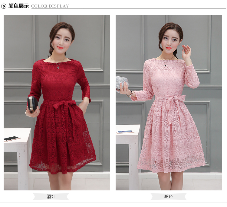 d9d7e9767cb Korean Long-sleeved  Lace Red Dress. View more detail